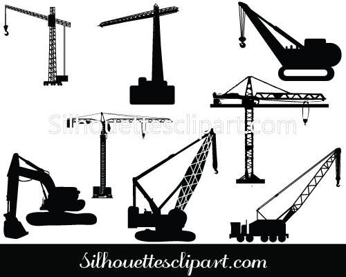 500x400 Cranes And Scaffolding Vector Silhouette Graphics Silhouettes Vector