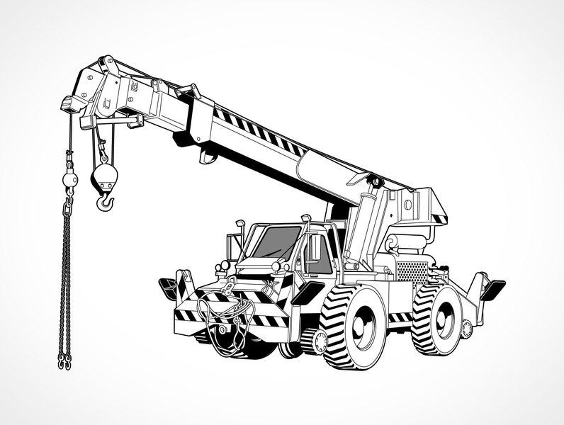 796x600 Free Download Of Free Vector Rough Terrain Crane Vector Graphic