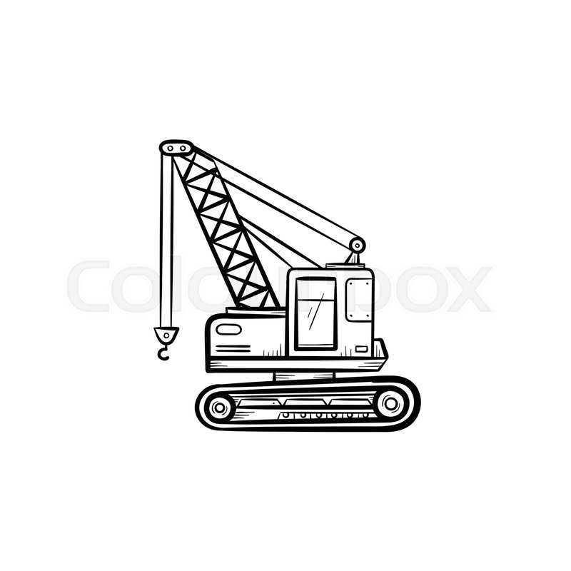 800x800 Lifting Crane Hand Drawn Outline Doodle Icon. Industry Crane