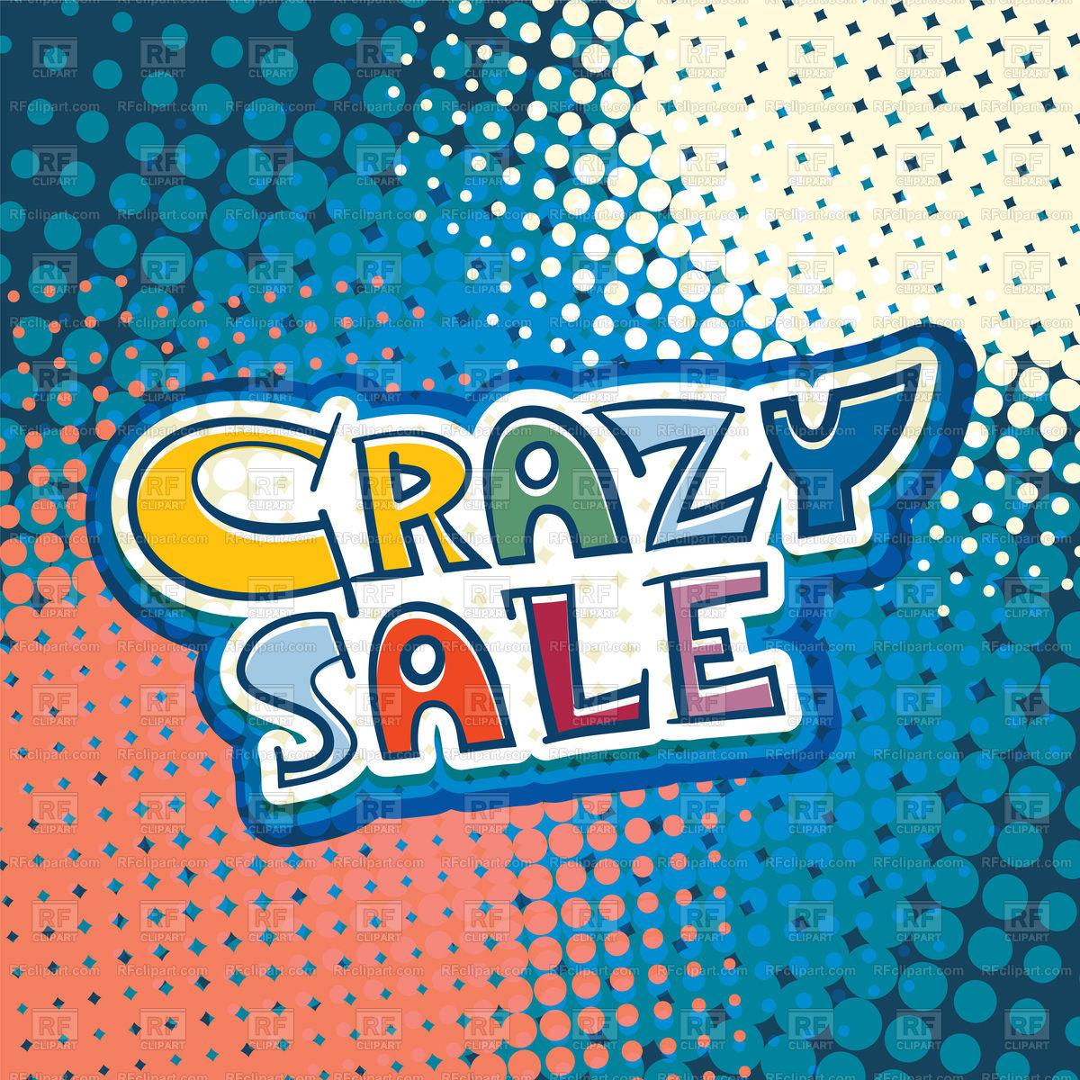 1200x1200 Crazy Sale Promotional Text Handwritten Vector Image Vector