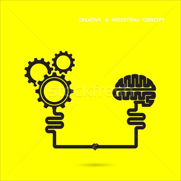 600x600 Creative Brain And Industrial Concept.brain And Gear Icon. Brain