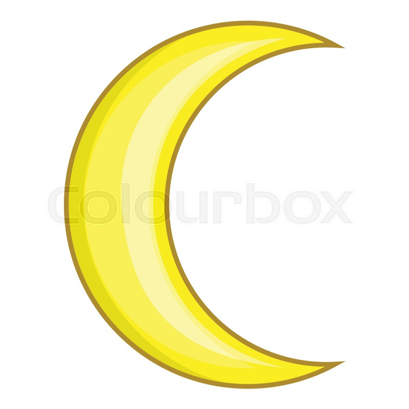 800x800 Crescent Moon Icon. Cartoon Illustration Of Moon Vector Icon For
