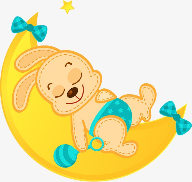 650x616 Bunny Sleeping On Crescent Vector, Bunny Vector, Bunny, Sleeping