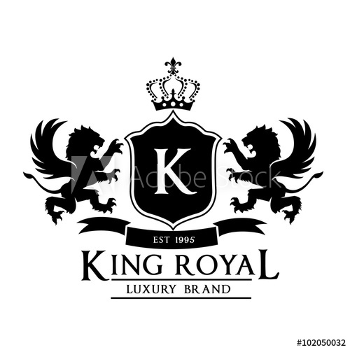 500x500 King Royal,crest Logo,lion Logo,king Logo,crown Logo,vector Logo