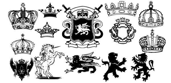 600x294 Free, Vintage Vector, Medieval Heraldry Graphics