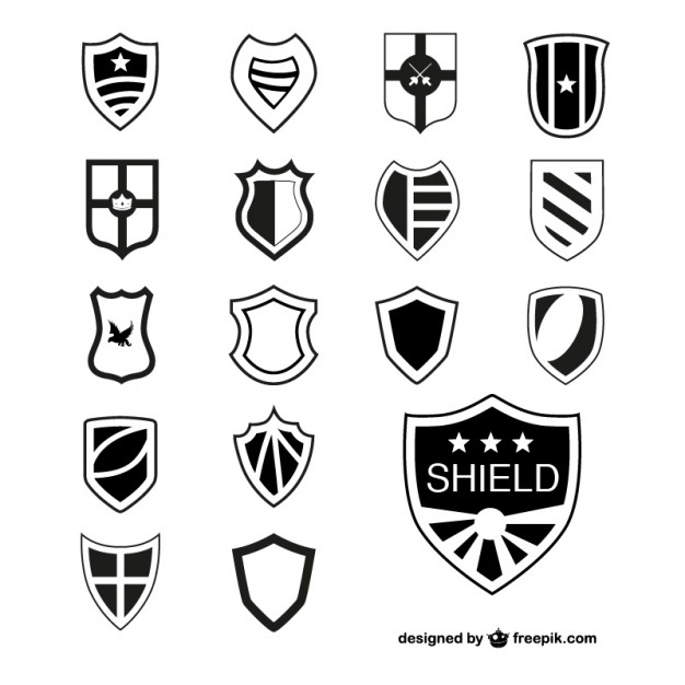 626x626 Black Shields Collection Vector Free Download