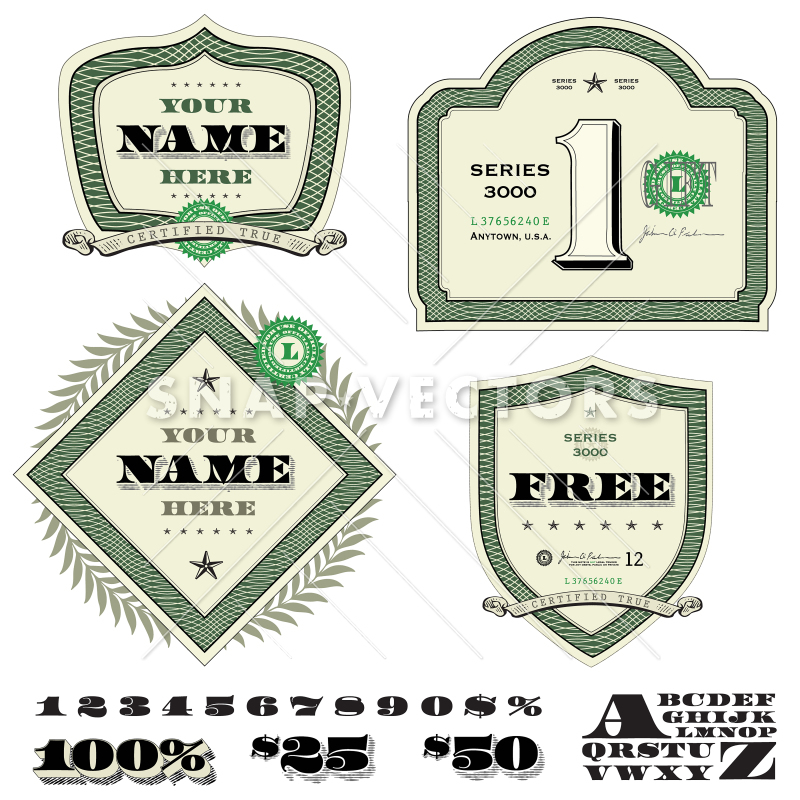 800x800 Vector Money And Dollar Frame Set