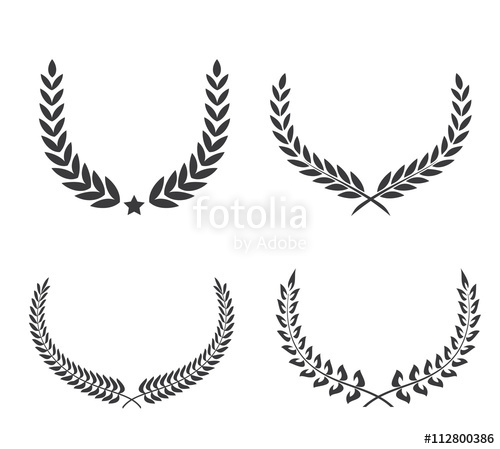500x449 Crest Logo Element Set,set Of Award Laurel Wreaths And Branches