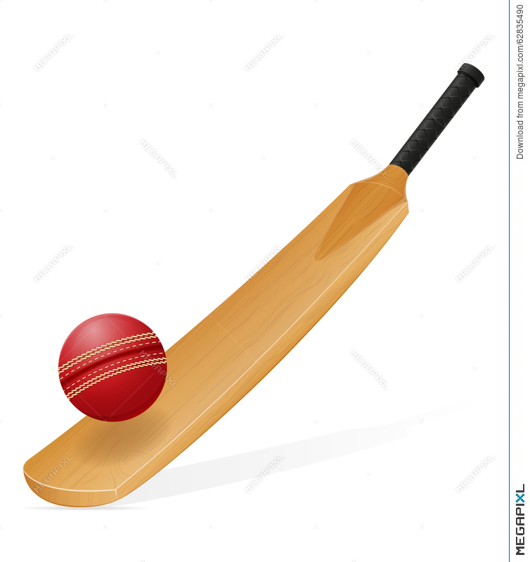 754x800 Cricket Bat And Ball Vector Illustration Illustration 62835490