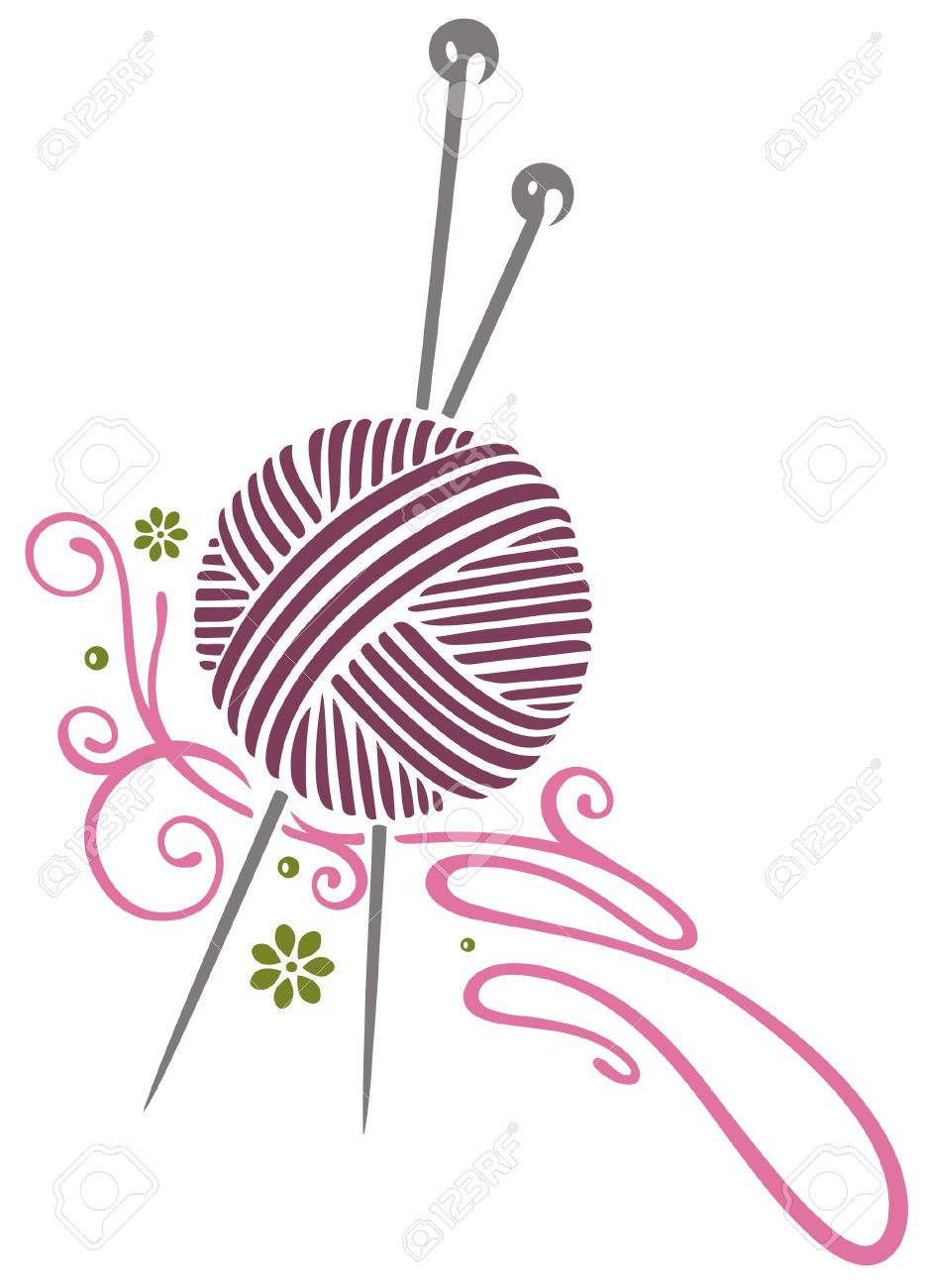 937x1300 21682493 Purple Wool With Knitting Needles Stock Vector Clipart