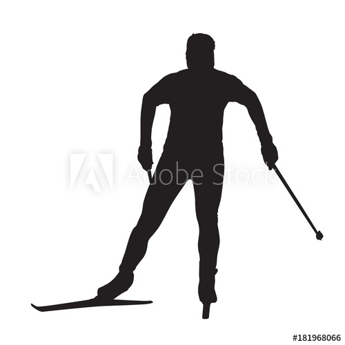 500x500 Cross Country Skier Isolated Vector Silhouette. Front View