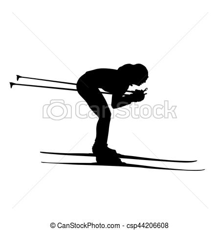 450x470 Cross Country Skiing Downhill, Woman Or Girl Vector Silhouette