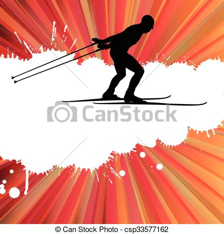 450x470 Cross Country Skiing Man Vector Background Concept Illustration.