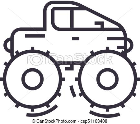 450x399 Cross Country Vehicle,jeep Vector Line Icon, Sign, Illustration On