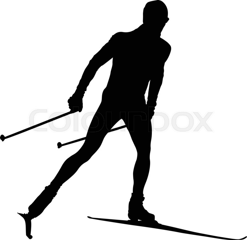 800x778 Black Silhouette Male Athlete Cross Country Skier Stock Vector