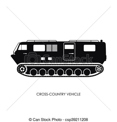 450x470 Silhouette Of The Cross Country Vehicle On A White... Vector