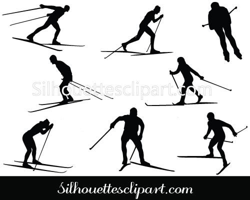 500x400 Cross Country Ski Silhouette Cross Country Vector Silhouettes Vector