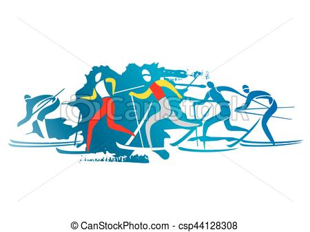 450x338 Cross Country Skiers. A Stylized Drawing Of Cross Country Ski