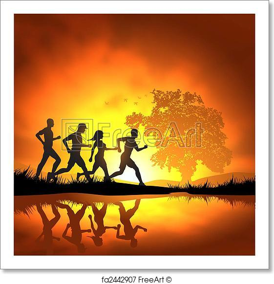 561x581 Free Art Print Of Running People. People Running Cross Country