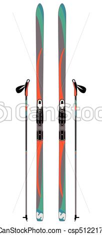 204x470 Pair Of Cross Country Skis With Ski Poles Isolated.