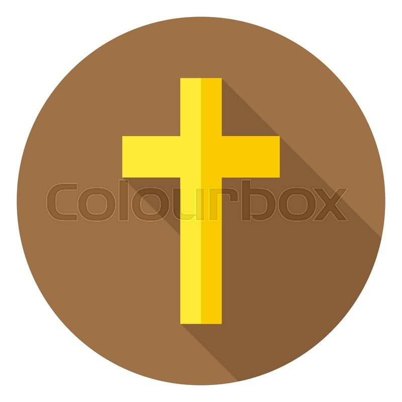 800x800 The Christian Cross Circle Icon. Flat Design Vector Illustration