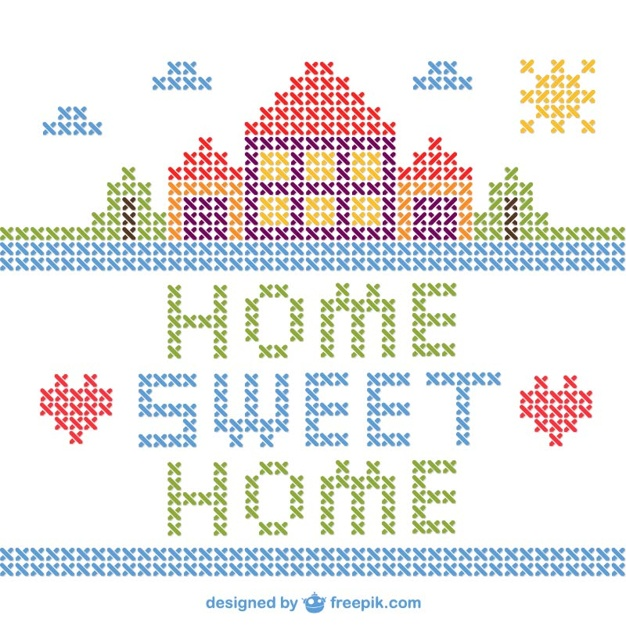 626x626 Cross Stitch Home Sweet Home Vector Vector Free Download