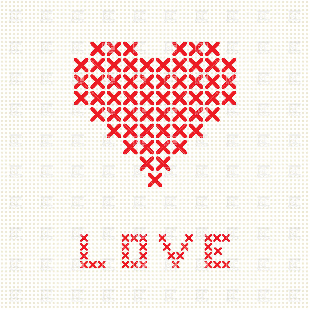 1200x1200 Abstract Heart Made Of Red Crosses Vector Image Vector Artwork