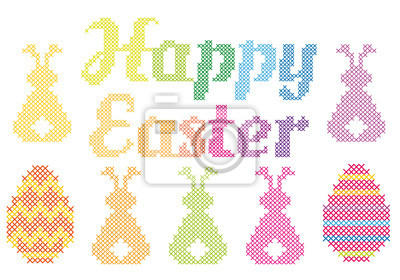 400x280 Happy Easter Cross Stitch, Vector Wall Mural Brainstorming