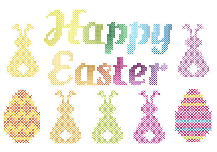 700x490 Happy Easter Cross Stitch, Vector Wall Mural We Live