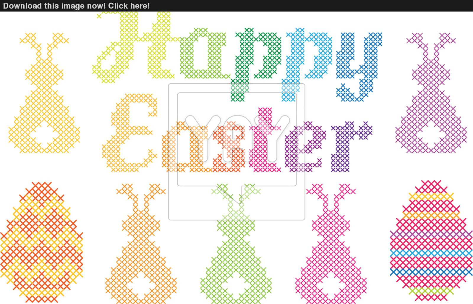 1600x1028 Happy Easter Cross Stitch, Vector Vector