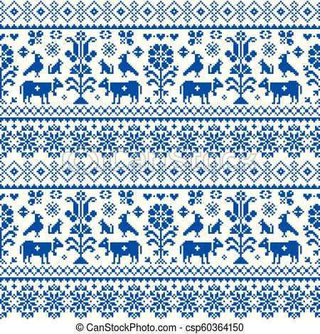 450x470 Retro Traditional Cross Stitch Vector Seamless Pattern