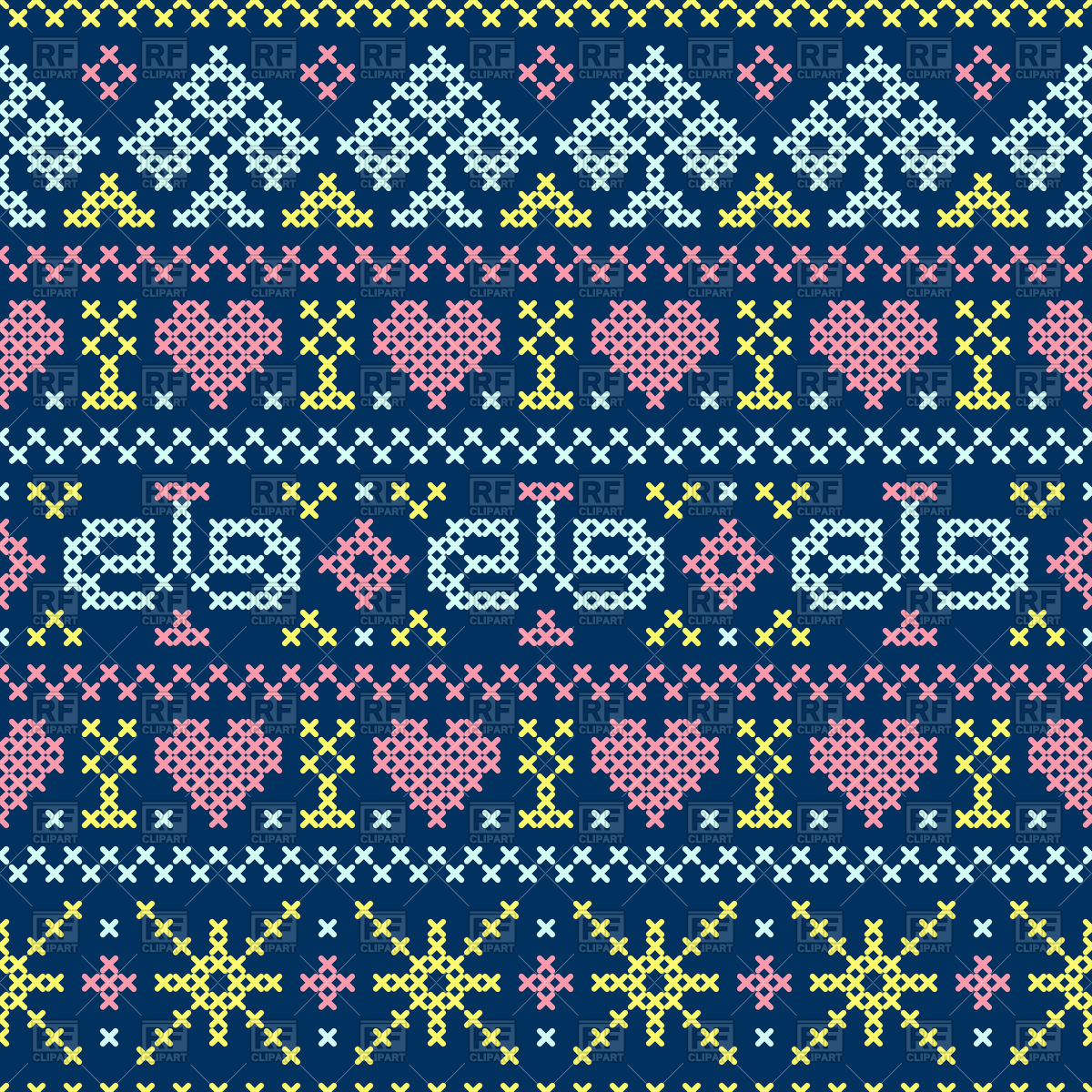 1200x1200 Seamless Embroidery Cross Stitch Style Pattern Vector Image
