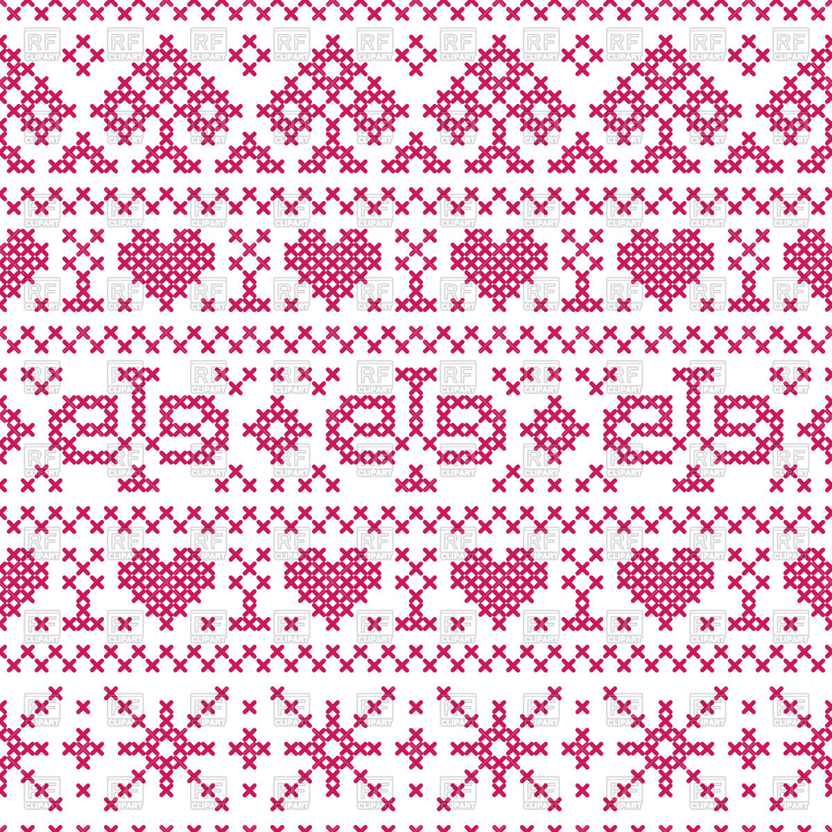 1200x1200 Seamless Pattern In Embroidery Cross Stitch Style Vector Image