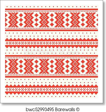 362x382 Art Print Of Winter Cross Stitch Vector Pattern Inspired By Sami