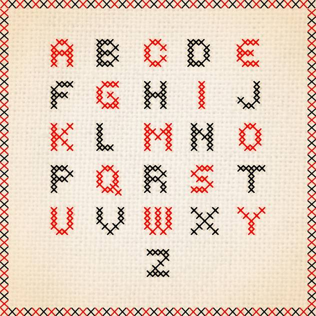 632x632 Cross Stitch Font Alphabet Letters Free Vector Download 133306