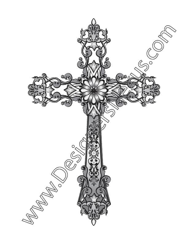 612x792 Fashion Design Vector Graphic V2 Heraldic Cross With Scroll