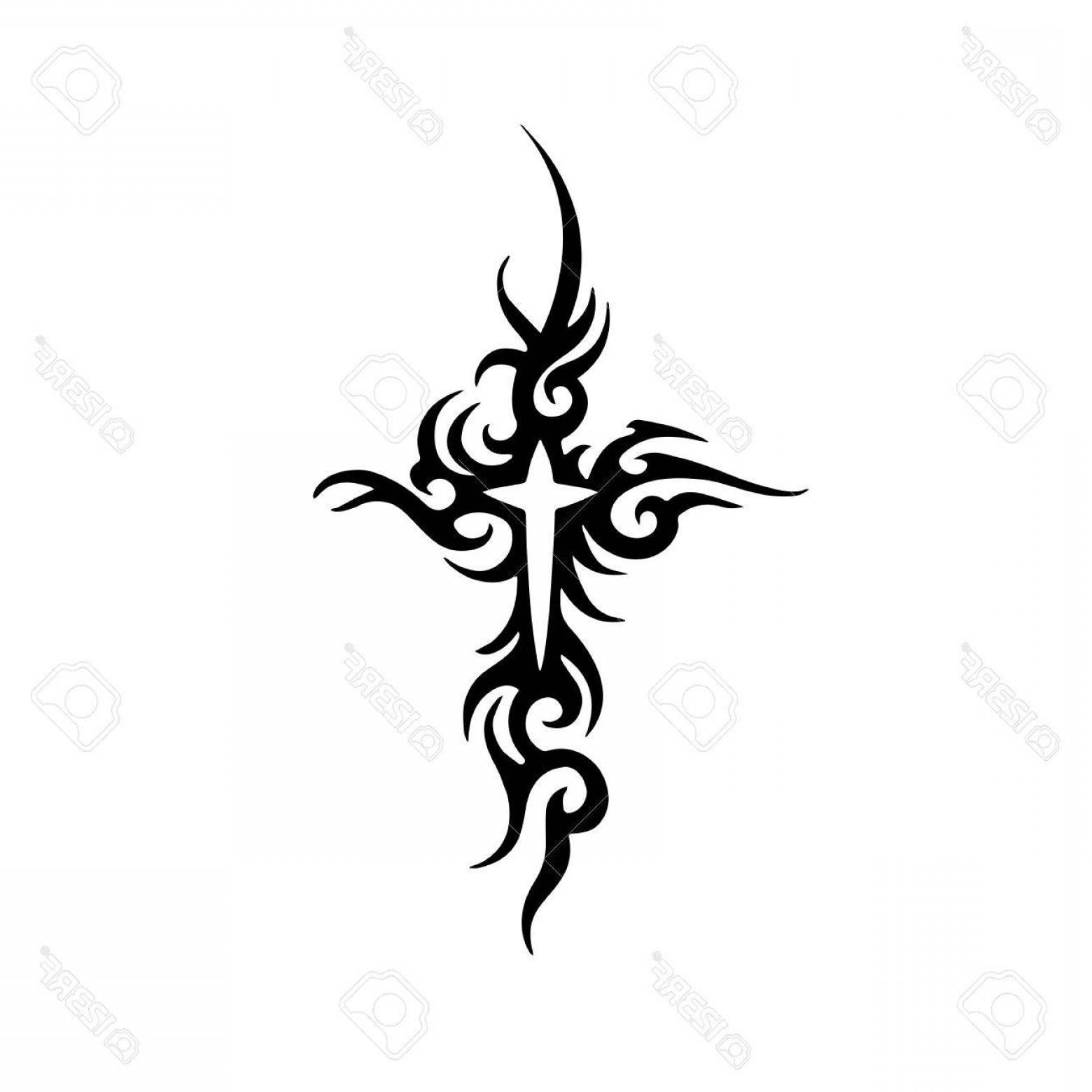 1560x1560 Photostock Vector Tribal Cross Tattoo Design Shopatcloth