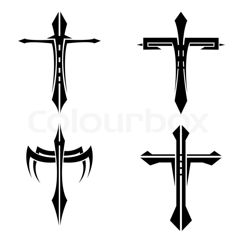 800x800 Set Of Black And White Crosses Tattoo Stock Vector Colourbox