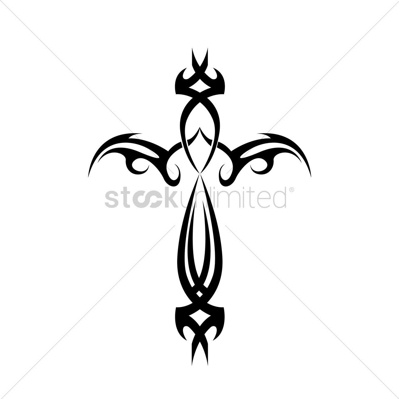 1300x1300 Tribal Cross Tattoo Vector Image
