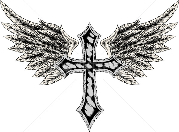 600x445 Cross And Wing Tattoo Vector Illustration Sau Kit Lai