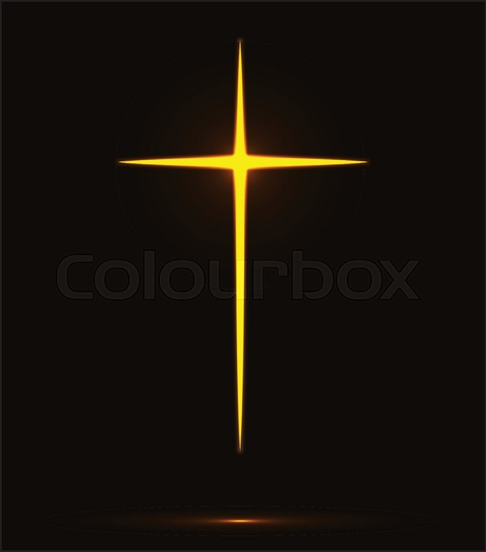 705x800 Glowing Yellow Christian Cross Vector Illustration Isolated Over