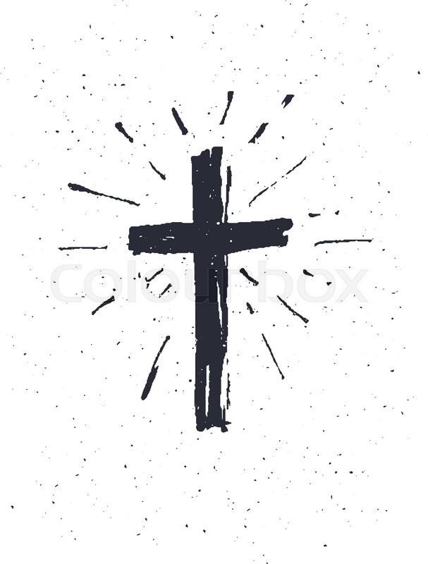 607x800 Hand Drawn Black Grunge Cross Icon, Simple Christian Cross Sign