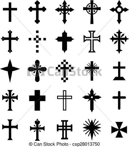 414x470 Christian Cross Vector Set For Your Design.