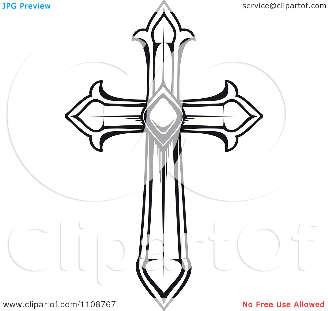 1080x1024 Cross Clipart Black And White Heraldic Royalty Free Vector