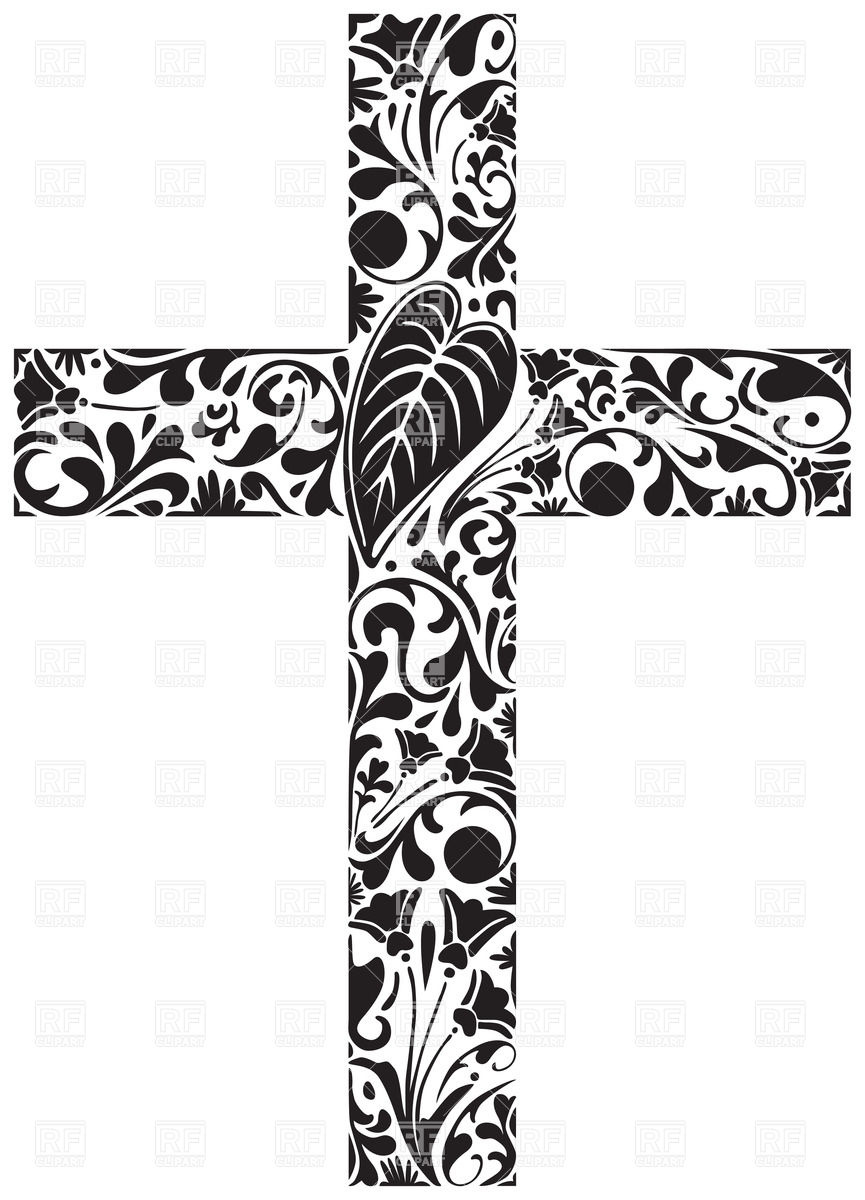 865x1200 Floral Ornament In Shape Of A Cross Vector Image Vector Artwork