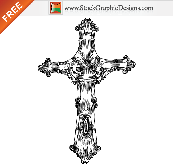 600x570 Free Hand Drawn Cross Vector 123freevectors