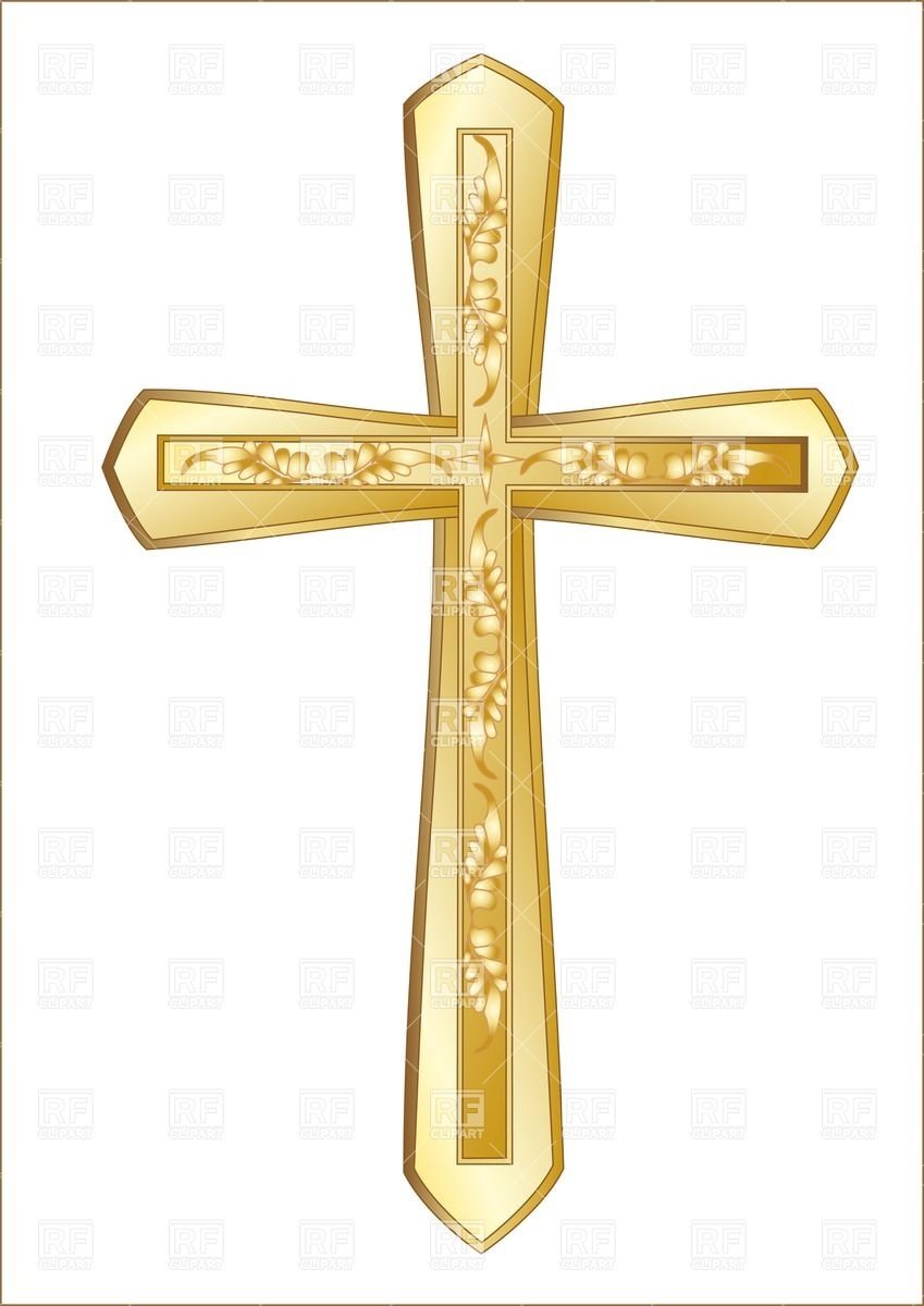 849x1200 Golden Christian Cross Isolated On The White Background Vector