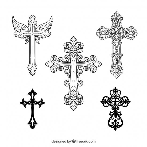 626x626 Hand Drawn Ornamental Cross Vector Free Download