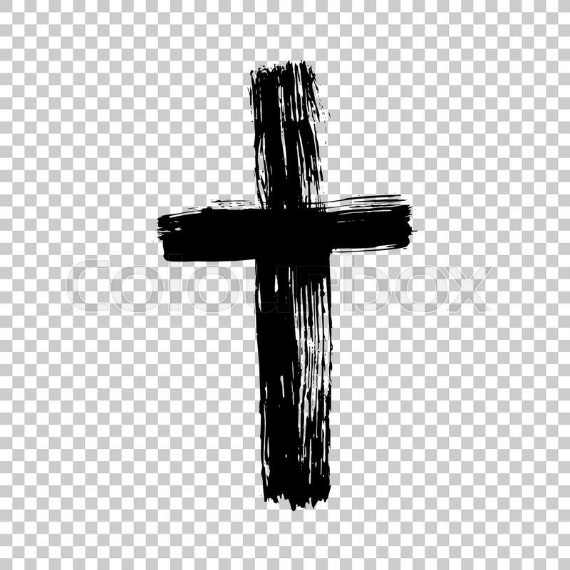 800x800 Hand Drawn Cross. Grunge Cross. Cross Made With Brush Stroke On