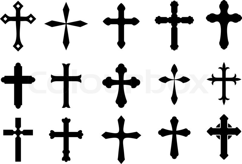 800x543 Set Of Religious Cross Symbols Isolated On White Stock Vector